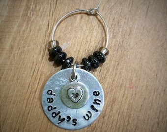 Personalised Hand Stamped Wine Glass Charm