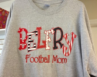 Applique Crew Sweatshirt CUSTOM made to order School Spirit Favorite Team or Business Name with Embroidery