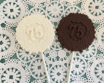 "Number ""75"" Chocolate Lollipops(12 qty) - 75th Birthday Party - 75th Anniversary Party- 75th Celebration - Number 75 Party Favor-Party Favor"