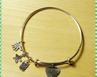 Mom Bracelet with owl charm (Tarnish resistant wire). Item#13
