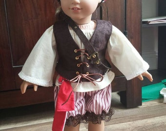 Pirate outfit for 18-inch dolls. Dress-up costume, doll clothes, historical, adorable! OOAK.