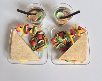 18in doll picnic set for 1 or 2 dolls- sandwich, water, kabob, and salad