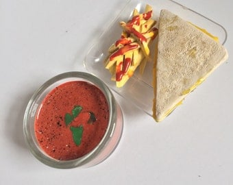 18in doll food- Tomato soup, fries, grilled cheese- made with polymer clay