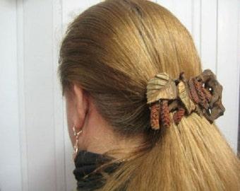 Wooden hair pin birch branches