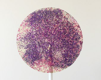 Purple and pink glitter lollipops for candy lolly buffet baby shower favours birthday party bonboniere bomboniere
