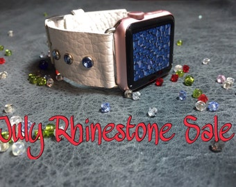 Rhinestone Apple I Watch Leather Band