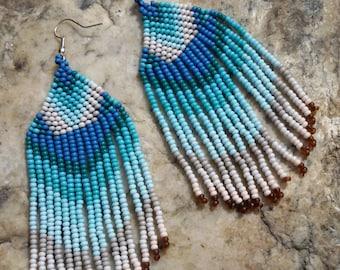 Sea Style Earrings blue earrings fringe earrings