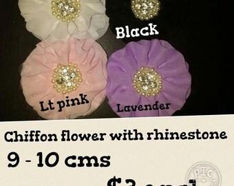 Chiffon Flower with Rhinestone