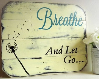 "Motivational Wall Art, ""Breathe And Let Go"", Inspirational Art, Motivational Gift For Her, Daily Reminder, Inspirational Wood Wall Art"