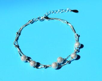 Beaded bracelet, sterling silver beaded bracelet, silver bead bracelet, bead bracelet, simple bead bracelet, bead chain bracelet, stardust