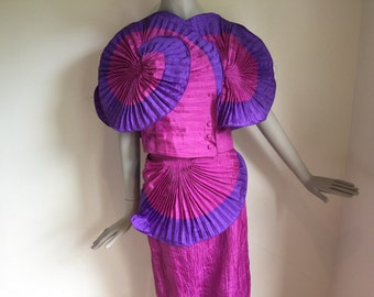 Vtg 70s 80s bb collections avant garde origami pleated dress suit