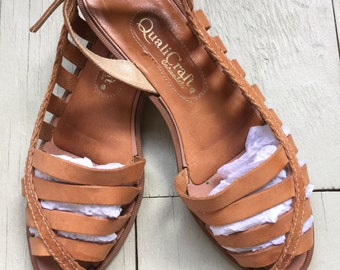 Vtg 70s 80s woven leather huaraches huarache shoes 7 flats sandals Qualicraft