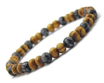 Bracelet men/women jewelry natural beads Ø 6 mm Stone Brown wood natural obsidian black P42_01