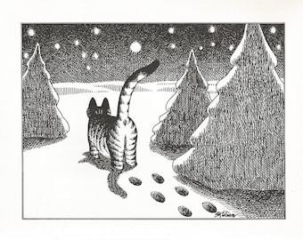 B. KLIBAN CAT Original Vintage Art Print *Winter Snow Stars Peaceful* High-Quality Decorative Wall Hanging Home Decor Adorable, Comical Art