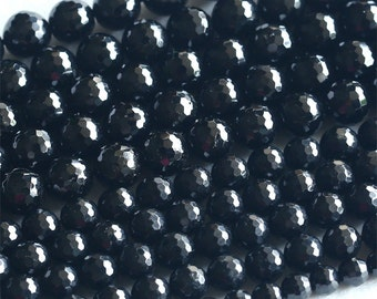 """High Quality Natural Genuine Black Tourmaline Faceted Round Beads 6mm 8mm 10mm 12mm 14mm 16"""" 03677"""