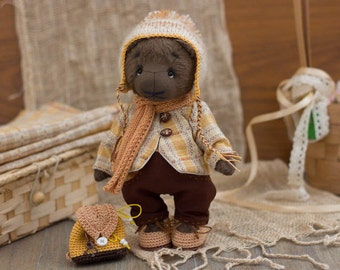 MAKE TO ORDER - Dressed Teddy Bear - artist teddy, ooak toy from viscouse fabric