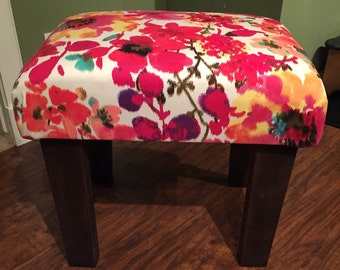 SOLD! -- Upcycled Floral Print Upholstered Ottoman || Stool