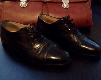 mens black shoes black vintage shoes Mr. John shoes leather 41EU 7,5UK 8,5USA