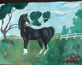 Sureal beauty of black horse oil painting