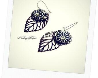 long original earrings, fabric Japanese asanoha