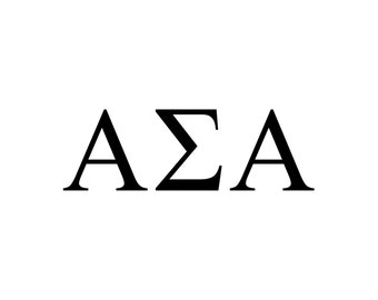 Alpha Sigma Alpha decal vinyl window bumper Sorority greek letters laptop sticker available in 10 different sizes and 30 different colors