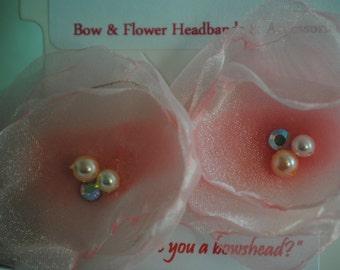 Floral Baby Headband- Softest pale pink organza and crystal headband