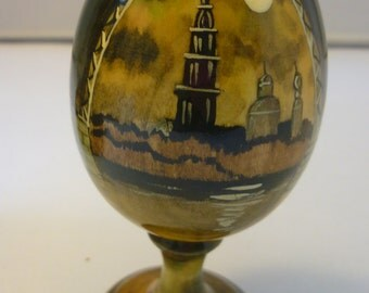 Russia Antique Painted Wood Egg with Palace Bridge Saint Petersburg by Simashka With signature
