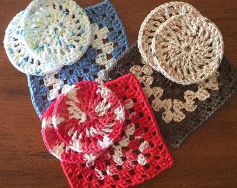 Granny Square Trivet, Round Coasters, 100% Cotton, Handmade, Crochet