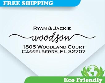 Address Stamp, Self Inking Return Address Stamp, Personalized Address Stamp, Calligraphy, Custom Wedding Stamp  (AD014)