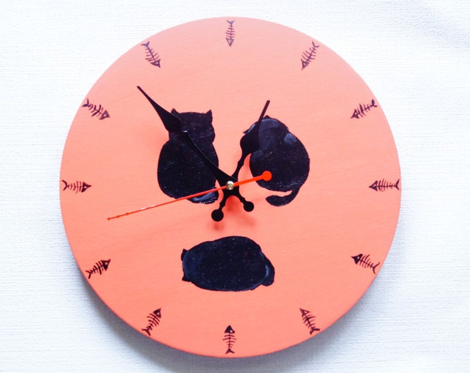 Wall Clock Black Cats - Terracotta background- Unique clock- Home and Living