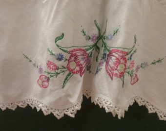 Hand embroidered vintage pillow case
