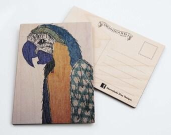 Parrot Wooden Postcard