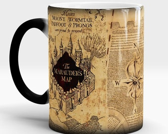 Harry Potter mug, Marauders map mug, Harry Potter map, Magic mug, Color Changing mug, Harry Potter, Hogwarts, Morphing mug, HP cup