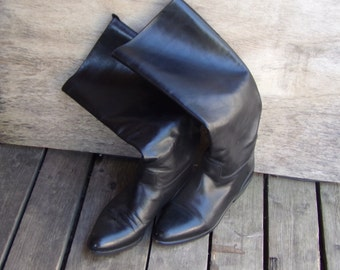 Vintage English Riding boots Black Leather Handcrafted size US 9