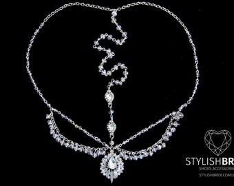 Crystal Hair Chain Headpiece,  Bridal Head Chain Tikka, Weddings Bridal Headpiece, Jewelry Head Chain, Head Jewelry Chain,  Head Pie
