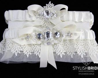 Wedding Garters Ivory Set Organza, Lace Ivory Bridal Garter, Garter Organza, Organza Lace Wedding Garter Set, Lace Wedding Garter Set
