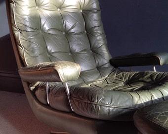 Danish leather swivel chair & footstool