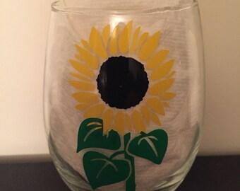 You Are My Sunshine Sunflower Glass- Customizable!!