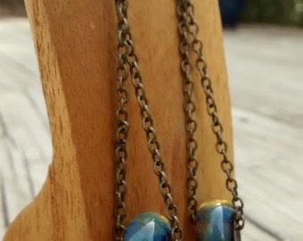 Handmade borosilicate blue green dangling earrings