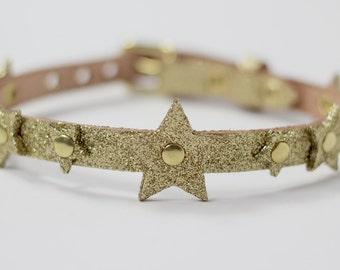 Single Strap Leather Choker with Stars - GOLD GLITTER