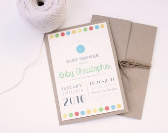 Cute as a Button! Baby Shower Invitation: Rustic, Custom & Made to Order