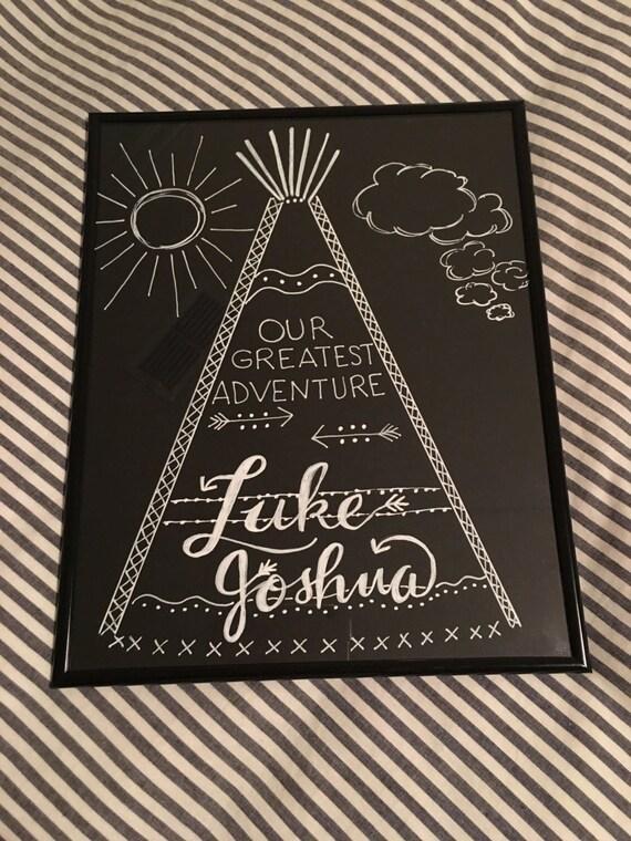 Custom Calligraphy Chalkboard Paper Art Print - Baby Boy / Baby Boy Shower or Birth Celebration Gift