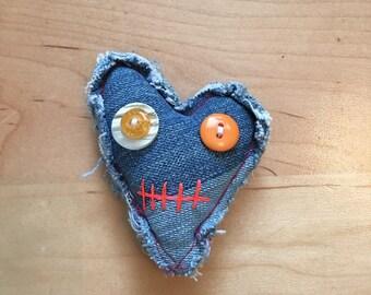 Cute heart shape voodoo doll/zombie style pincushion