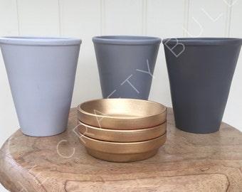 Grey planter trio: grey, gold, terracotta, industrial style, interior design, home decor, indoor garden, houseplant, copper, gift, three