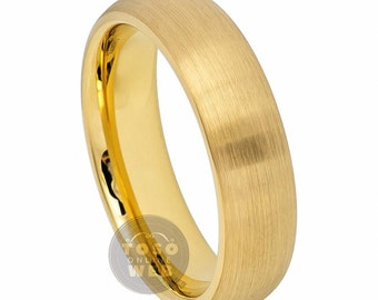 Men's 6mm Domed Yellow Gold IP Brushed Classic Style Ring TS6910