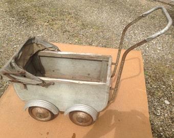 Small stroller pram retro wood and metal