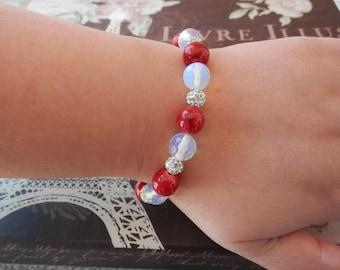 opalite bracelet, red agate bracelet, red bracelet, Beaded Stretch Bracelet, stretch bracelet, beaded bracelet