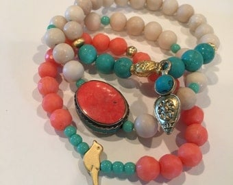 Turquoise and Coral Bracelet Stack
