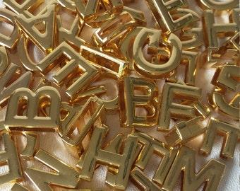 18 MM Gold Slide letters  26Pcs Pick Your Choice