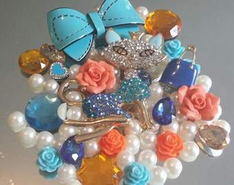 DIY 3D Cat Bling Bling Decoden Cell Phone Case Deco kit Blue and Orange ( No case)  Only one.